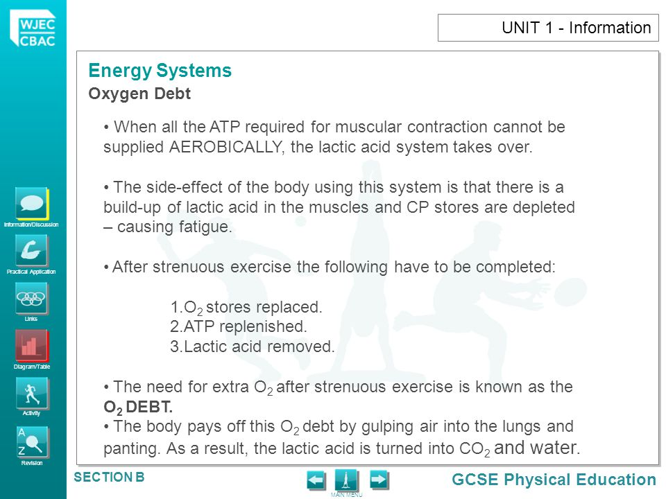 UNIT 1 - Information Oxygen Debt. When all the ATP required for muscular contraction cannot be.