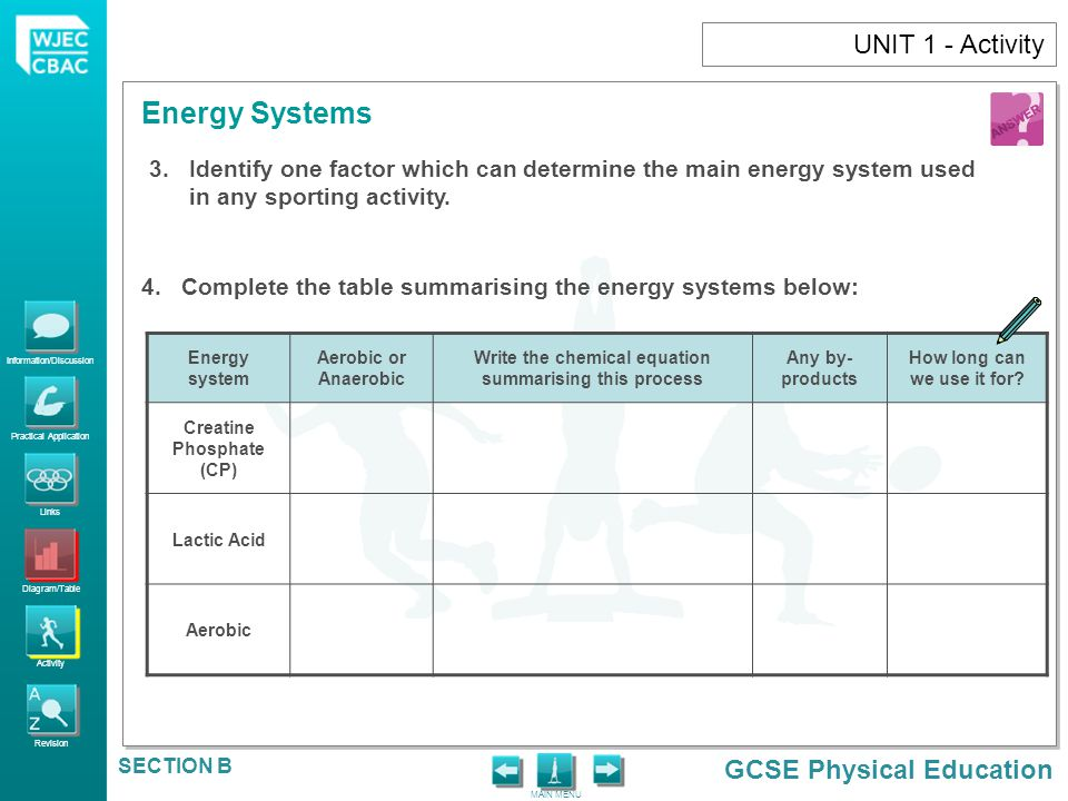 UNIT 1 - Activity Identify one factor which can determine the main energy system used in any sporting activity.