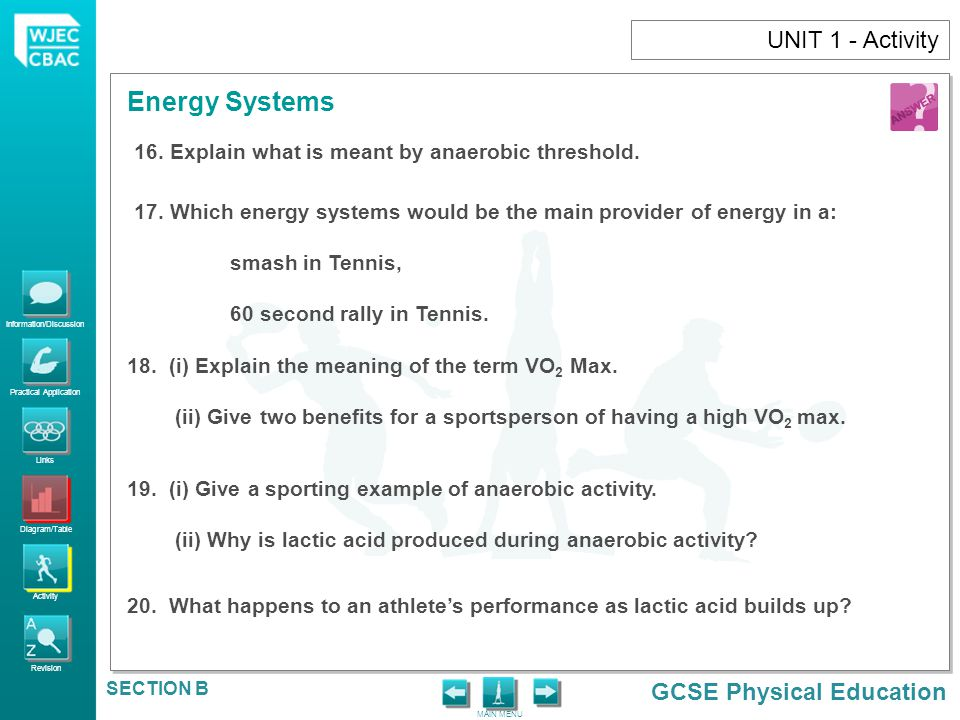 UNIT 1 - Activity Explain what is meant by anaerobic threshold.