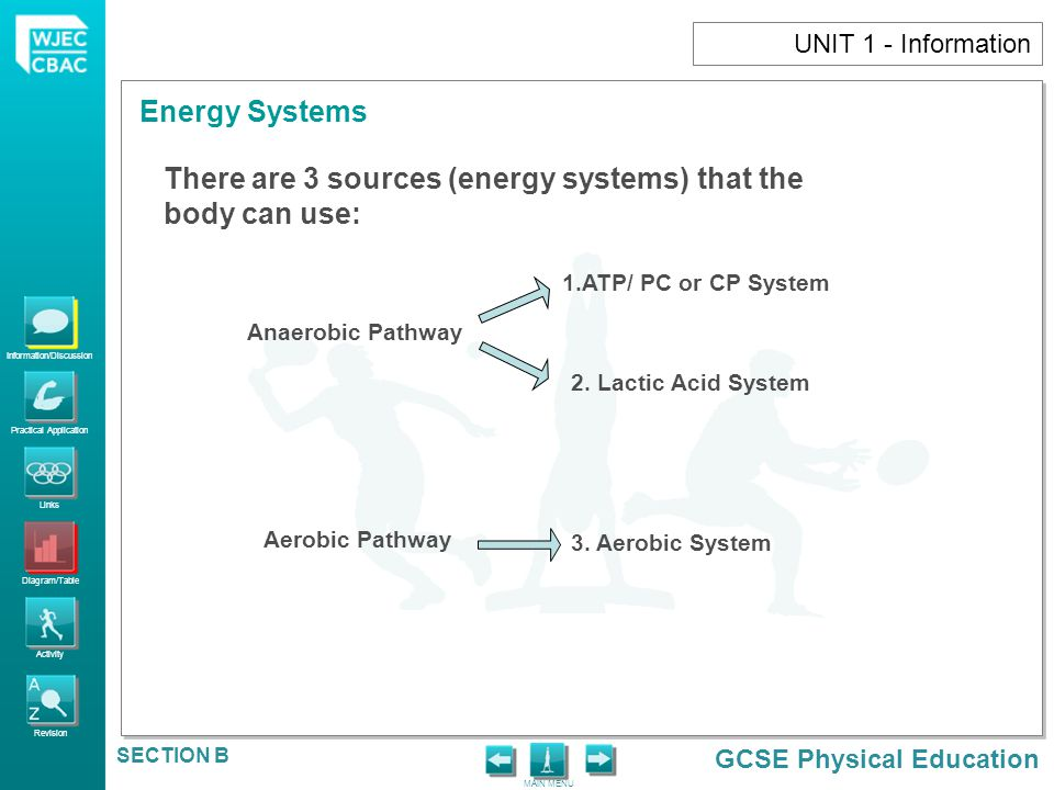 There are 3 sources (energy systems) that the body can use: