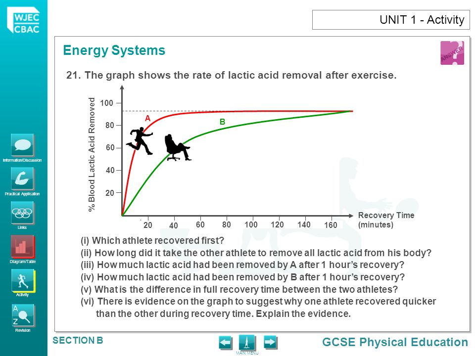UNIT 1 - Activity The graph shows the rate of lactic acid removal after exercise. 20. 40. 60. 80.