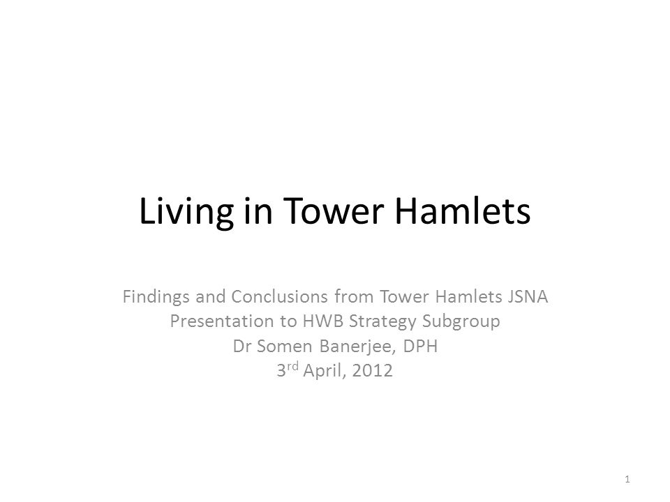 Living in Tower Hamlets