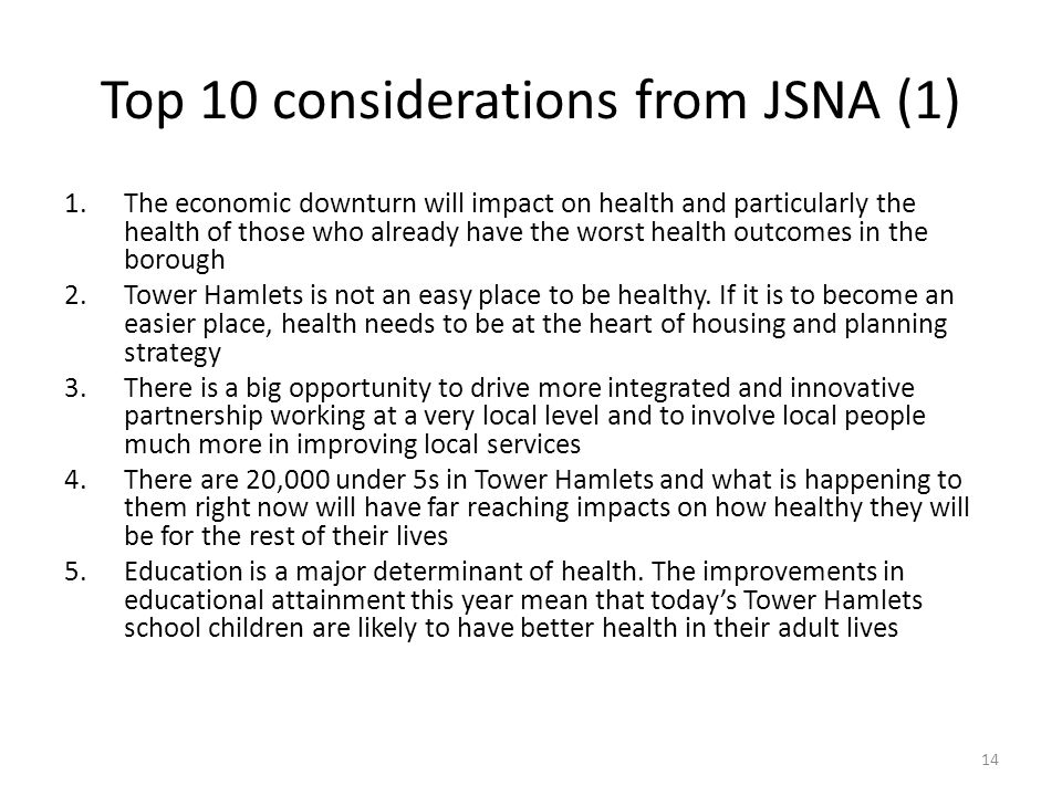 Top 10 considerations from JSNA (1)