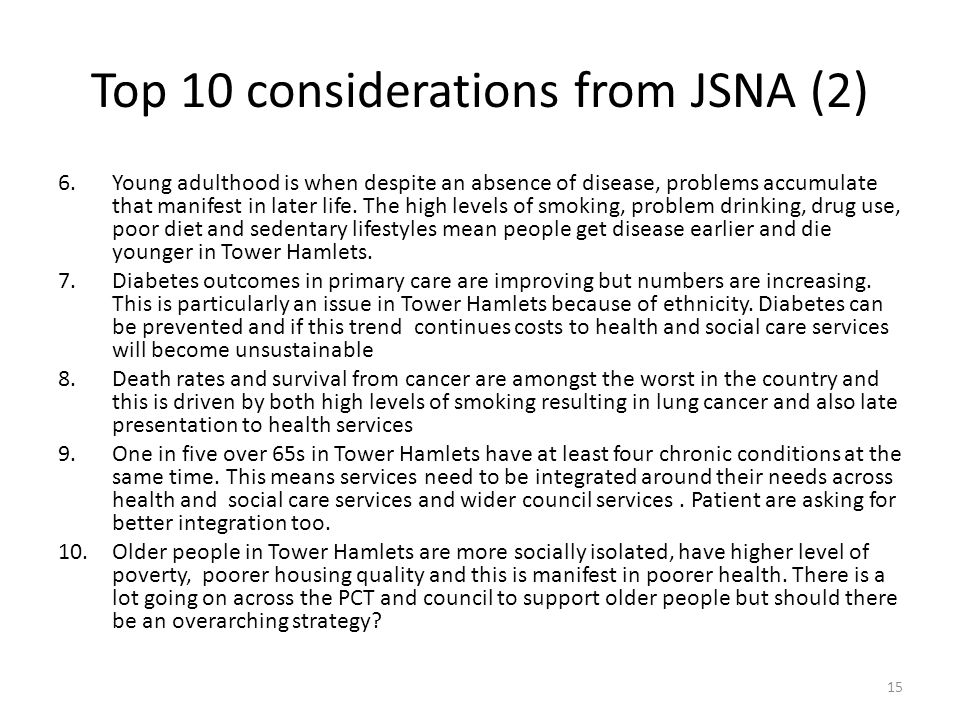 Top 10 considerations from JSNA (2)