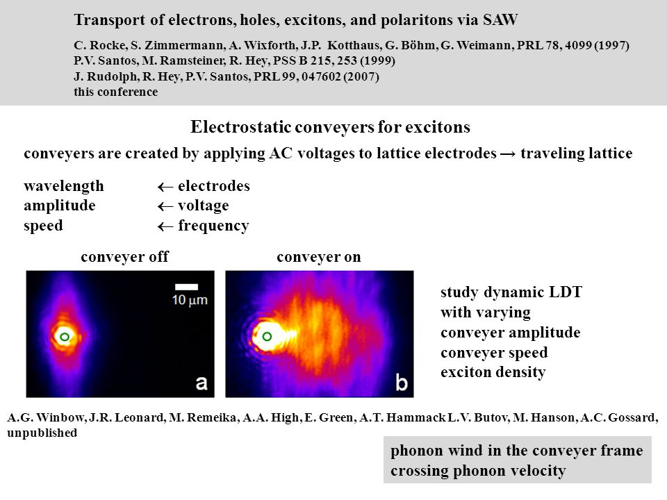 Electrostatic conveyers for excitons