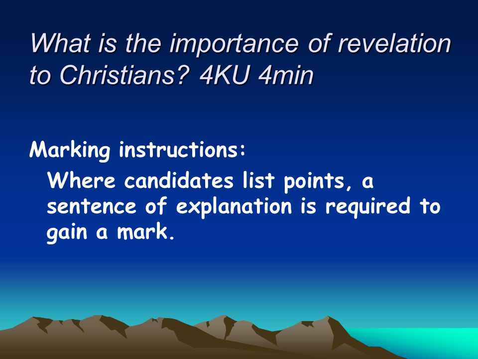 What is the importance of revelation to Christians 4KU 4min