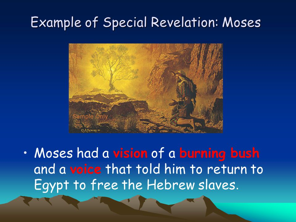 Example of Special Revelation: Moses