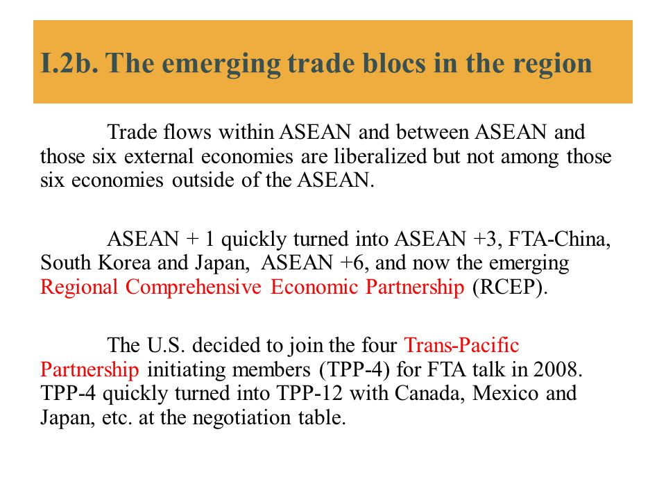 I.2b. The emerging trade blocs in the region