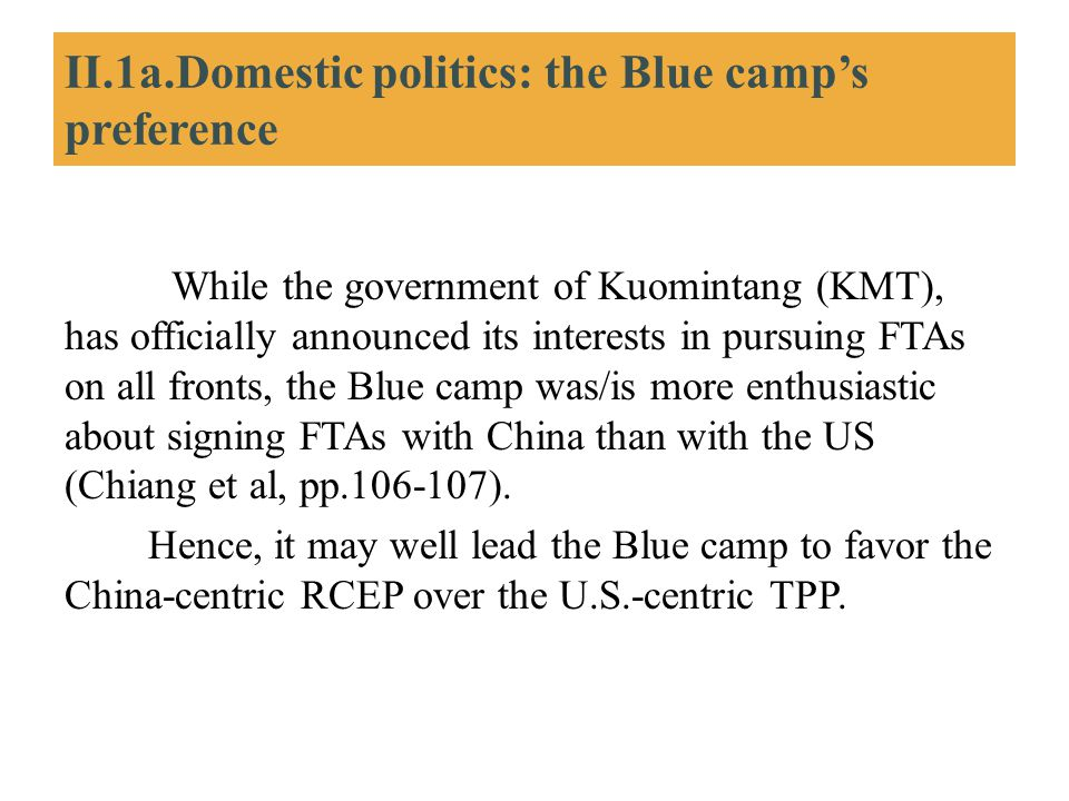 II.1a.Domestic politics: the Blue camp's preference