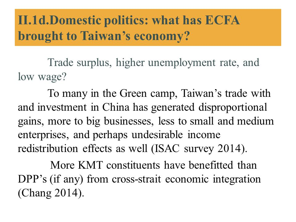 II.1d.Domestic politics: what has ECFA brought to Taiwan's economy