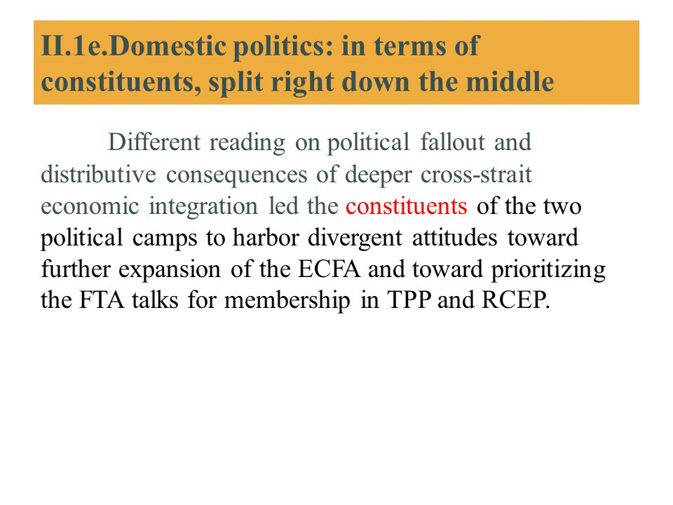 II.1e.Domestic politics: in terms of constituents, split right down the middle