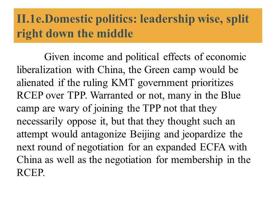 II.1e.Domestic politics: leadership wise, split right down the middle