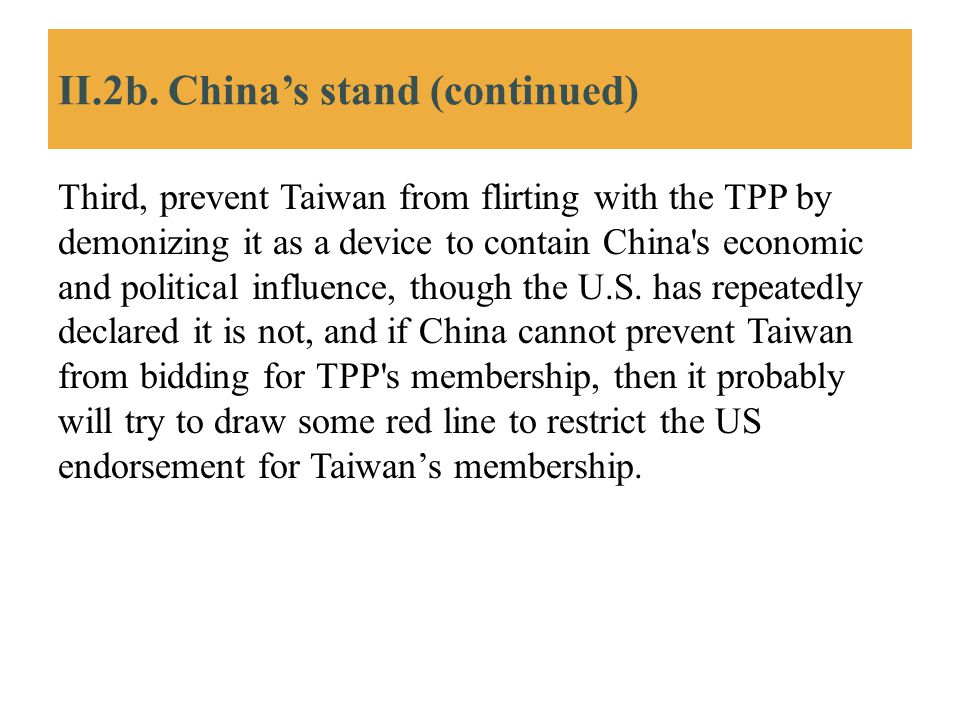 II.2b. China's stand (continued)