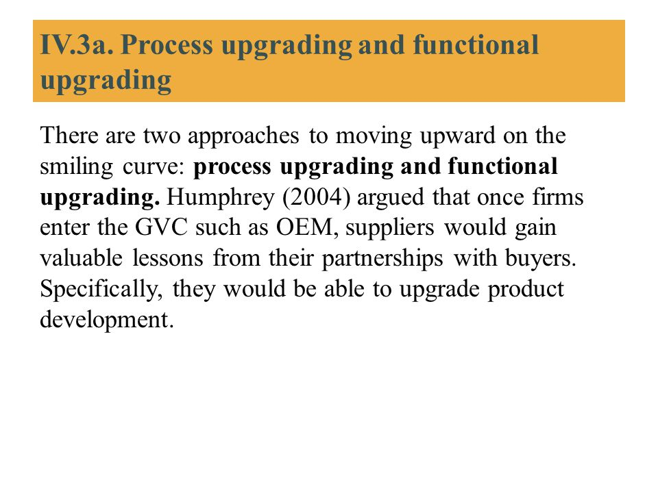 IV.3a. Process upgrading and functional upgrading