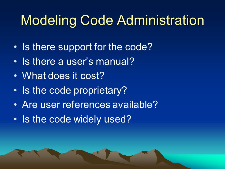 Modeling Code Administration
