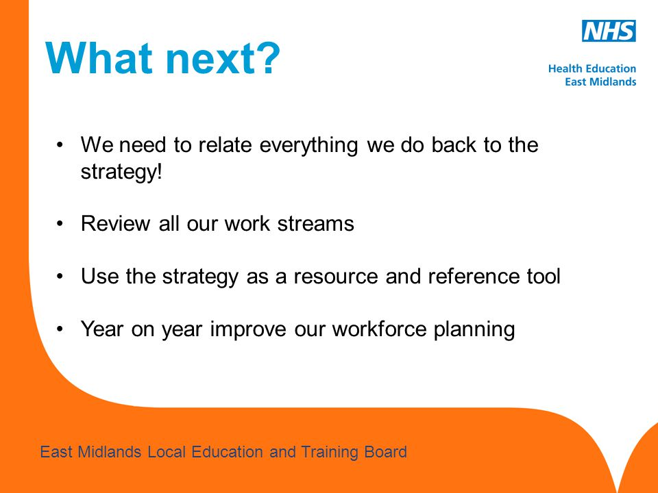 What next We need to relate everything we do back to the strategy!