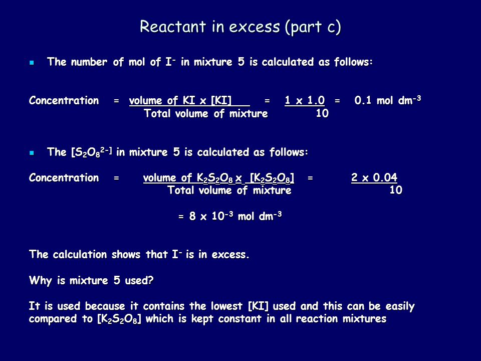 Reactant in excess (part c)