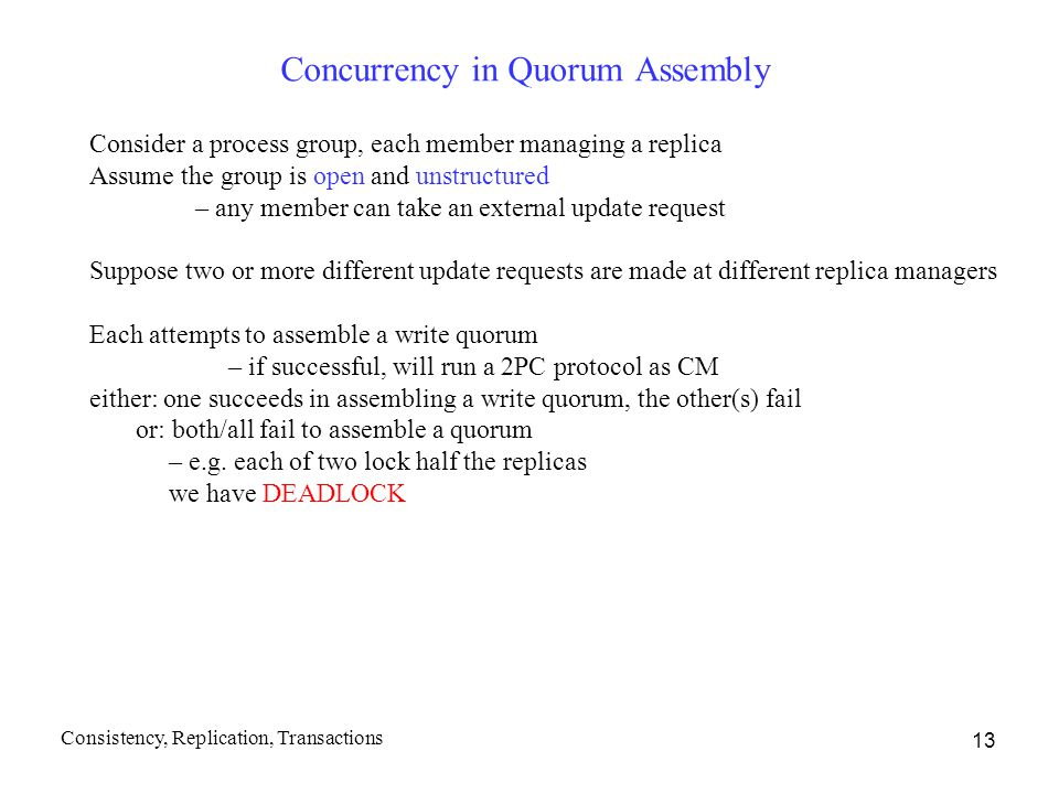 Concurrency in Quorum Assembly