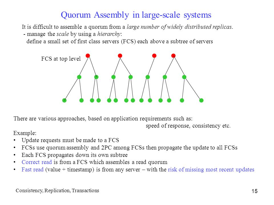 Quorum Assembly in large-scale systems