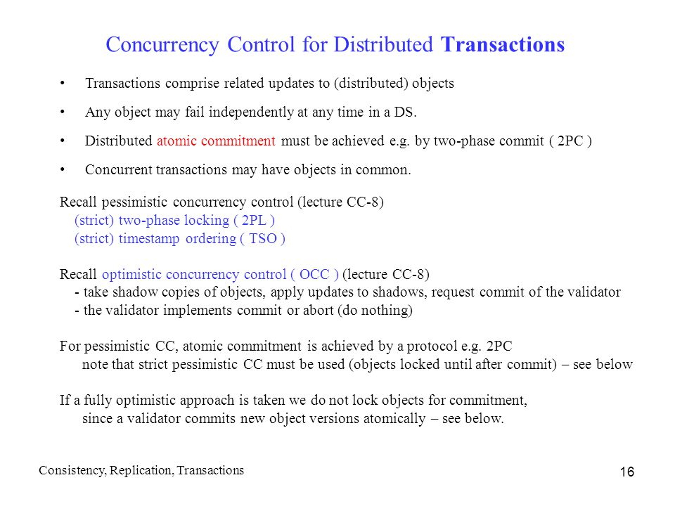 Concurrency Control for Distributed Transactions