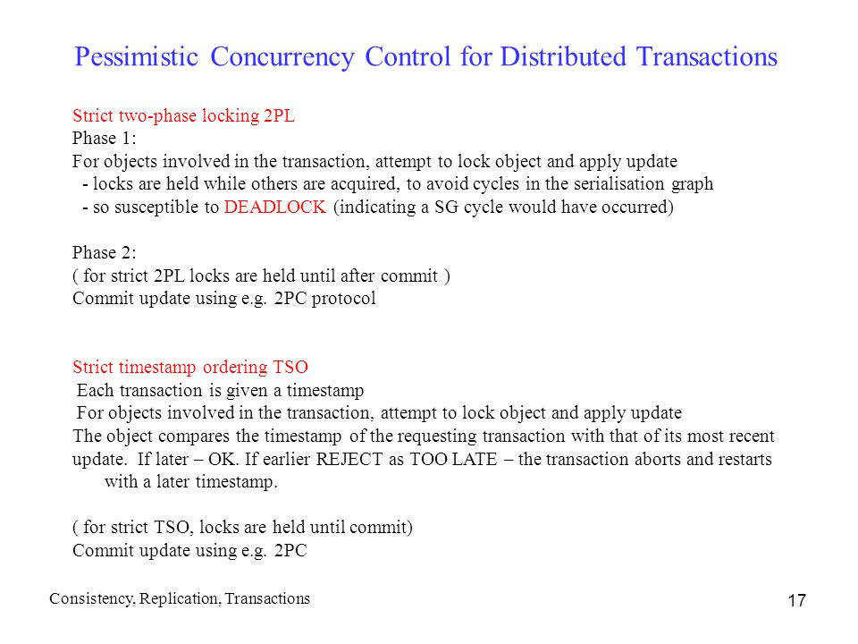 Pessimistic Concurrency Control for Distributed Transactions