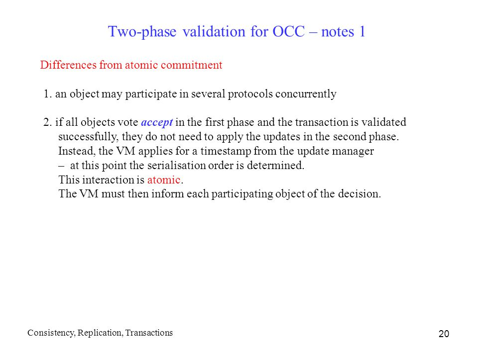Two-phase validation for OCC – notes 1
