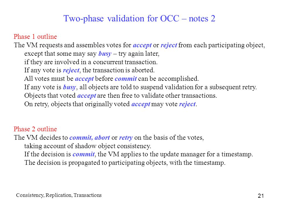 Two-phase validation for OCC – notes 2