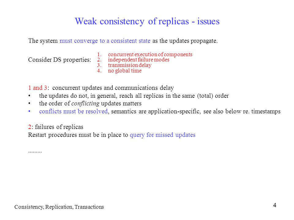 Weak consistency of replicas - issues