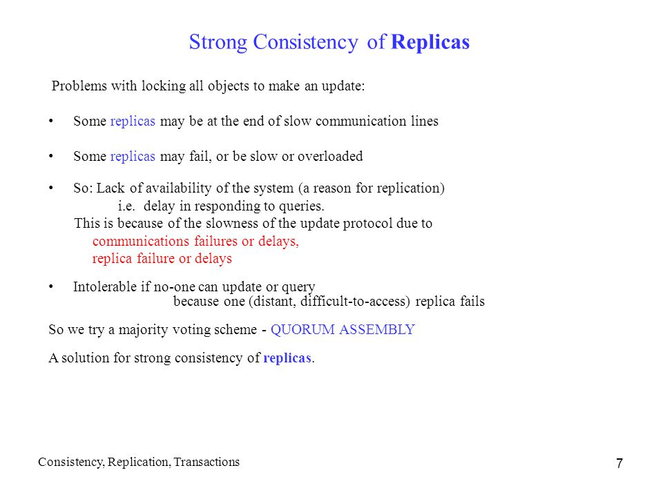Strong Consistency of Replicas