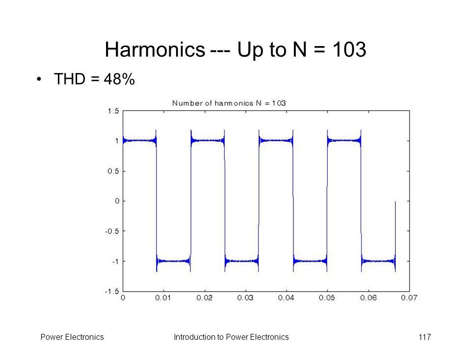 Harmonics --- Up to N = 103 THD = 48% Power Electronics