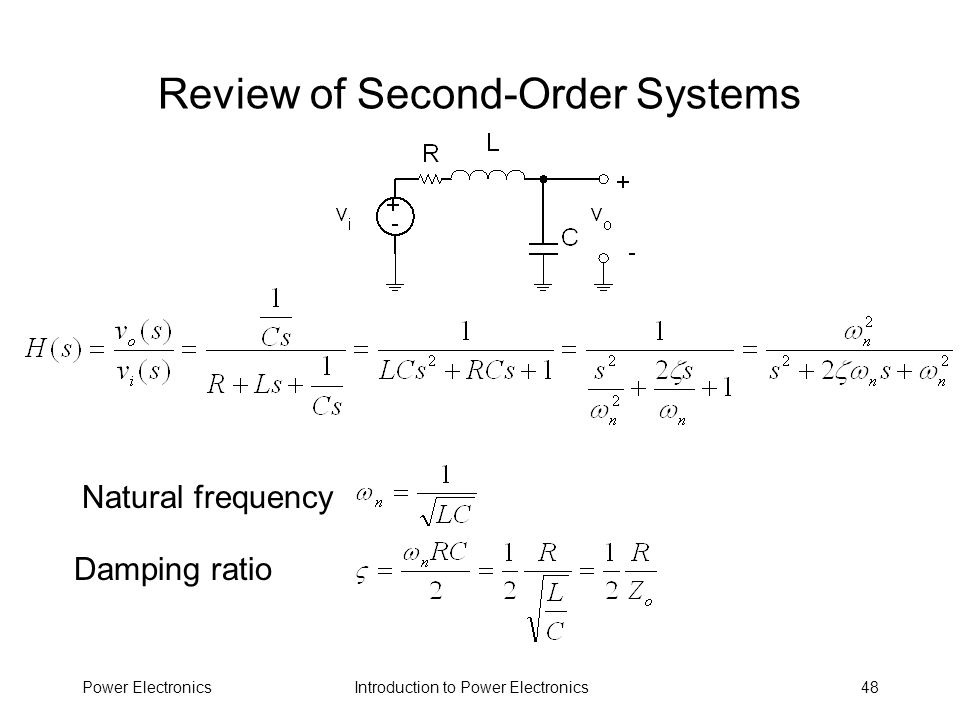 Review of Second-Order Systems