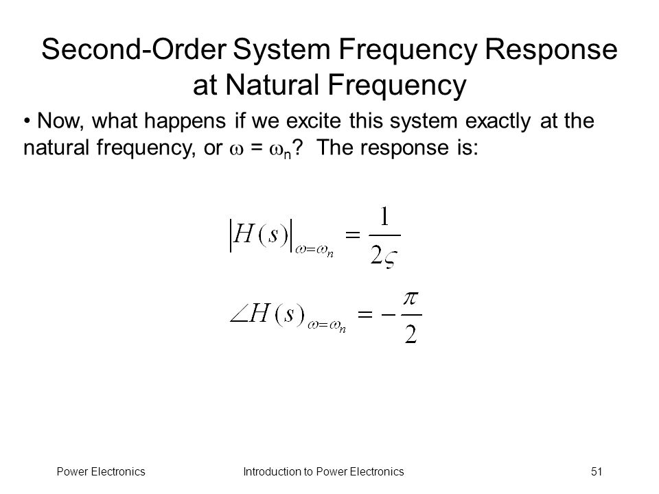 Second-Order System Frequency Response at Natural Frequency