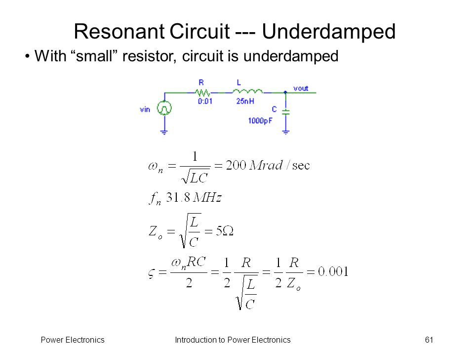 Resonant Circuit --- Underdamped