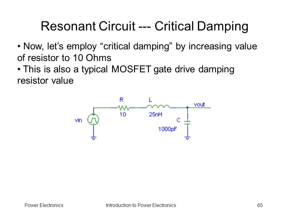 Resonant Circuit --- Critical Damping