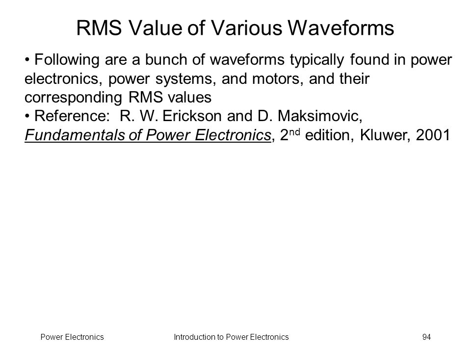 RMS Value of Various Waveforms