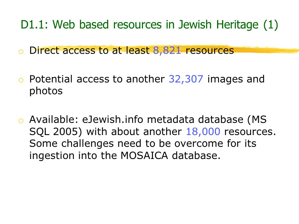 D1.1: Web based resources in Jewish Heritage (1)