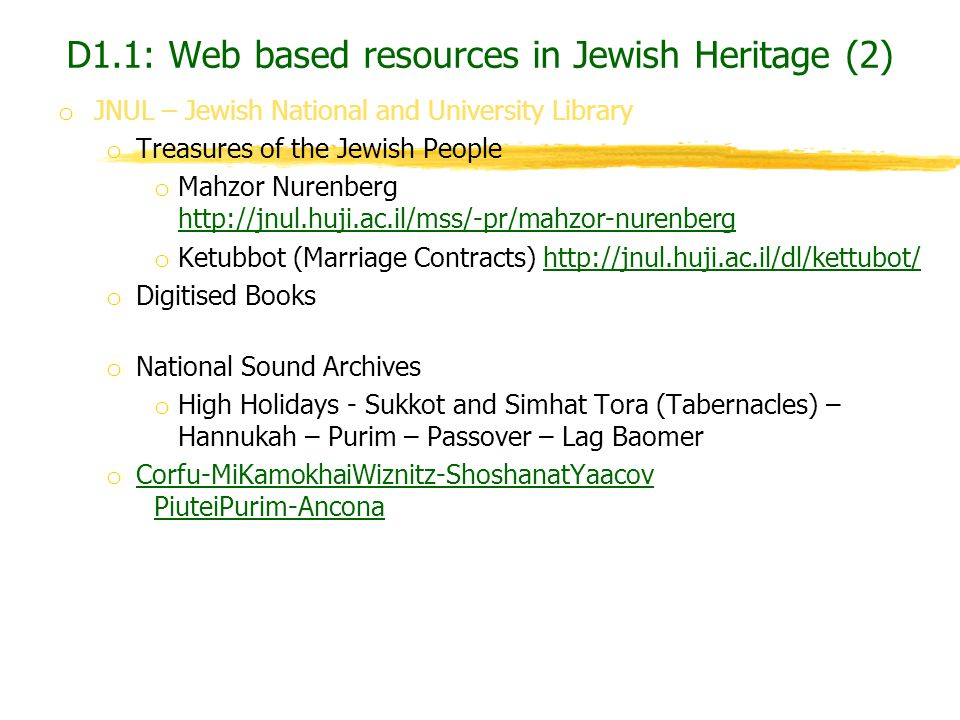 D1.1: Web based resources in Jewish Heritage (2)