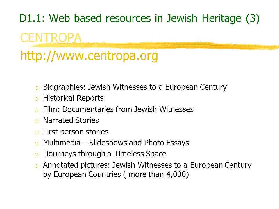 D1.1: Web based resources in Jewish Heritage (3)