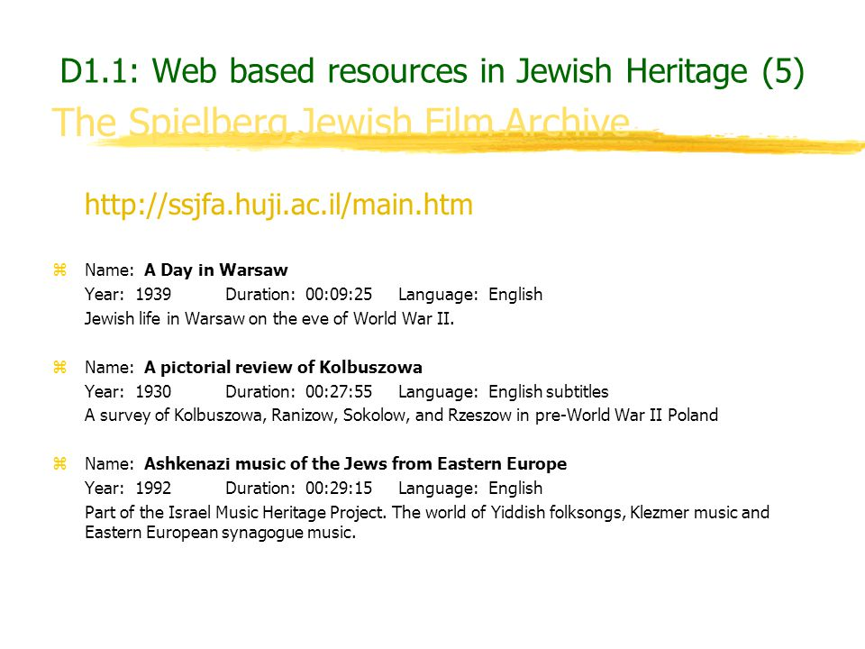 D1.1: Web based resources in Jewish Heritage (5)
