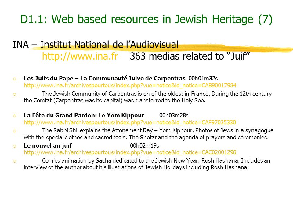 D1.1: Web based resources in Jewish Heritage (7)