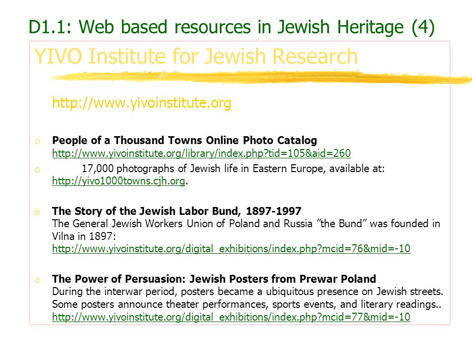 D1.1: Web based resources in Jewish Heritage (4)