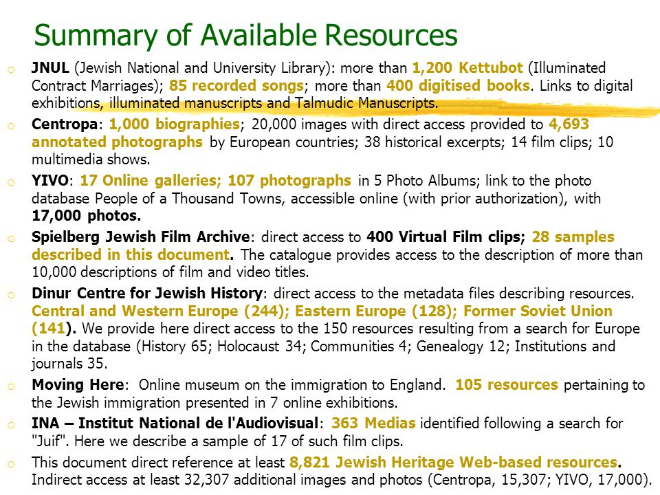 Summary of Available Resources