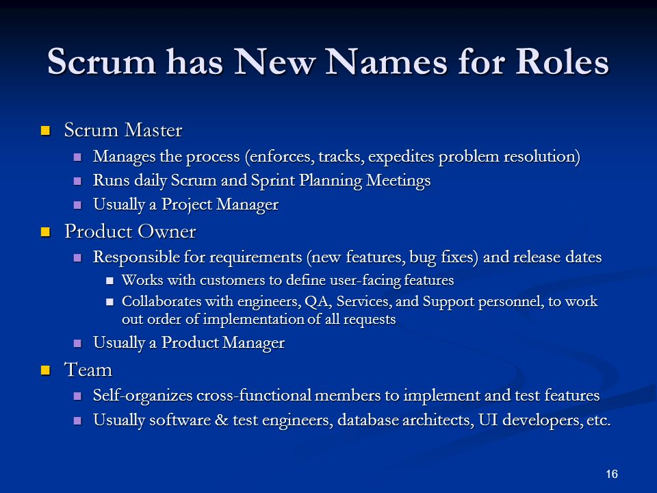 Scrum has New Names for Roles