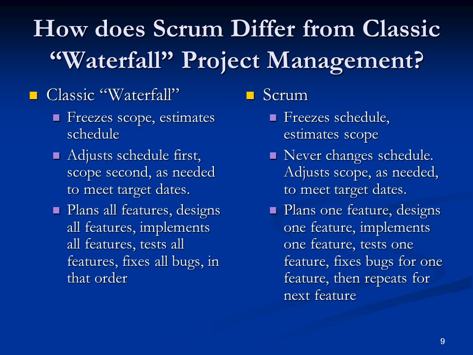 How does Scrum Differ from Classic Waterfall Project Management