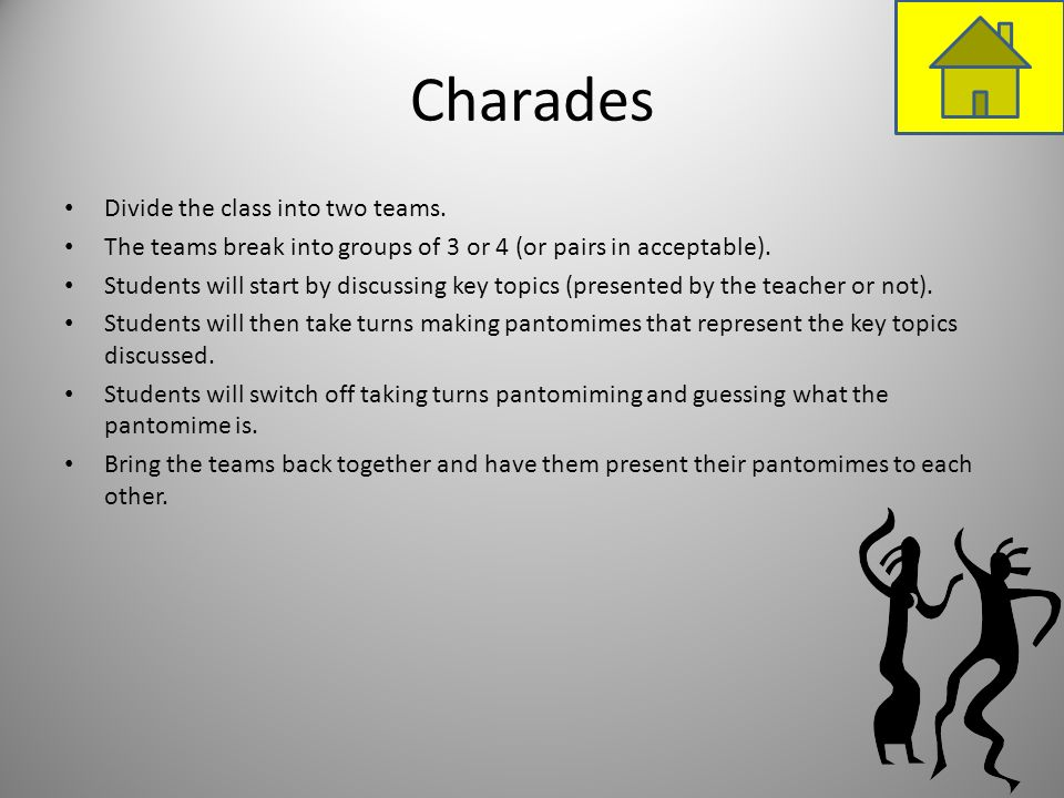 Charades Divide the class into two teams.