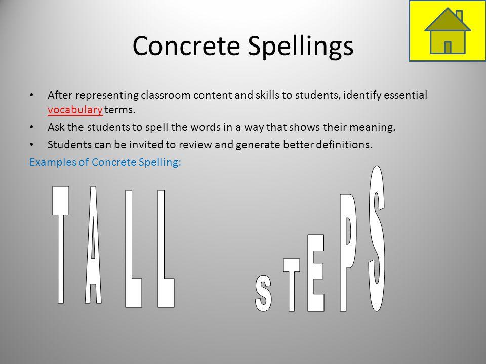 Concrete Spellings S T A L L P E T S