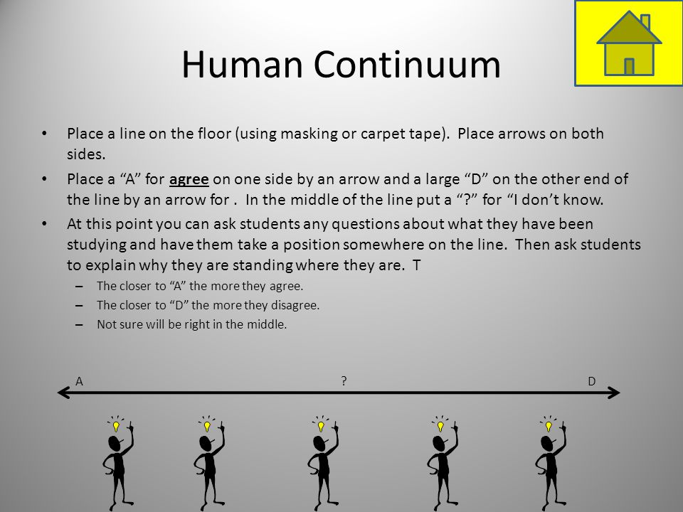 Human ContinuumPlace a line on the floor (using masking or carpet tape). Place arrows on both sides.