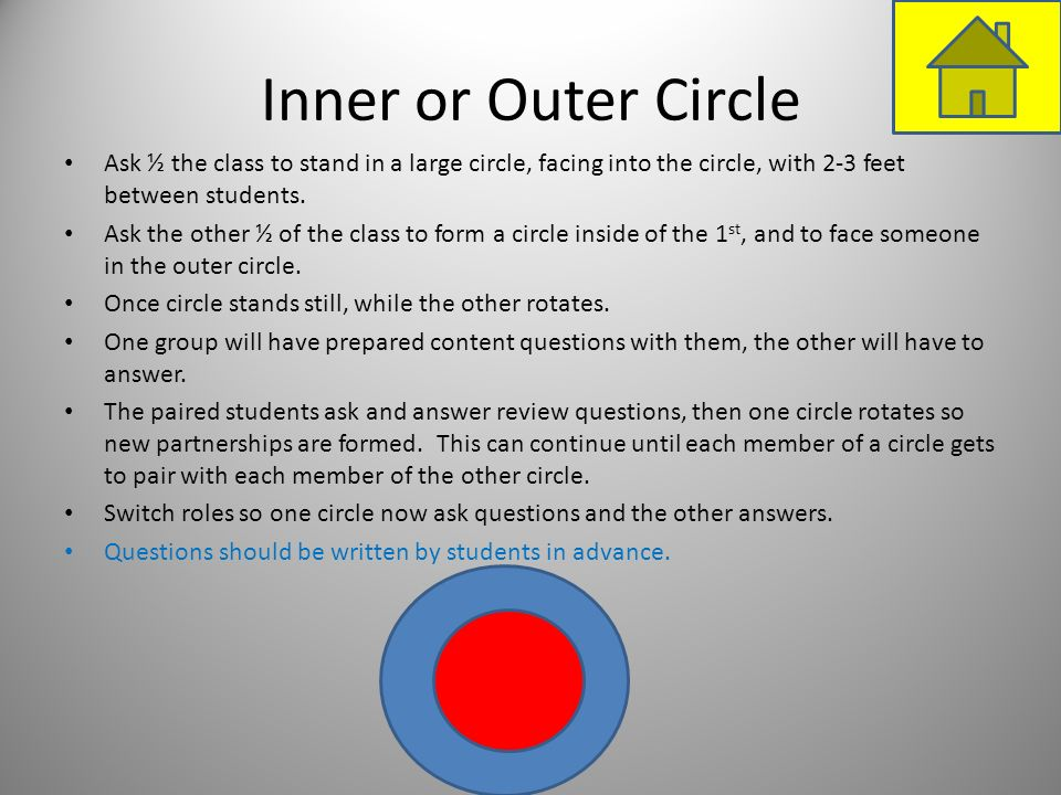 Inner or Outer Circle Ask ½ the class to stand in a large circle, facing into the circle, with 2-3 feet between students.
