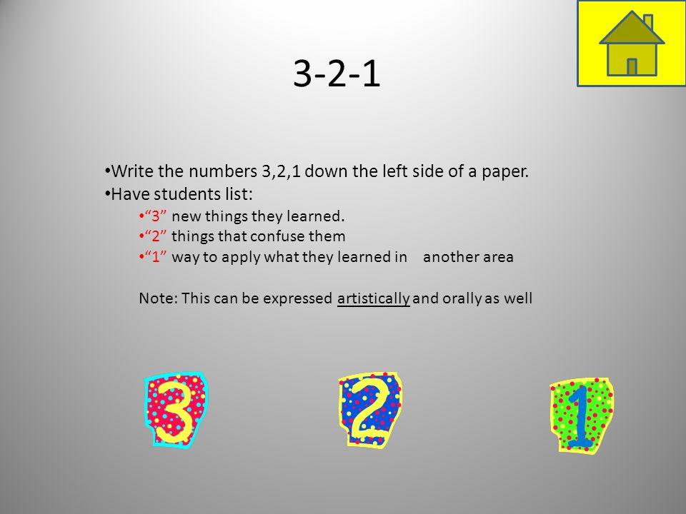 3-2-1 Write the numbers 3,2,1 down the left side of a paper.