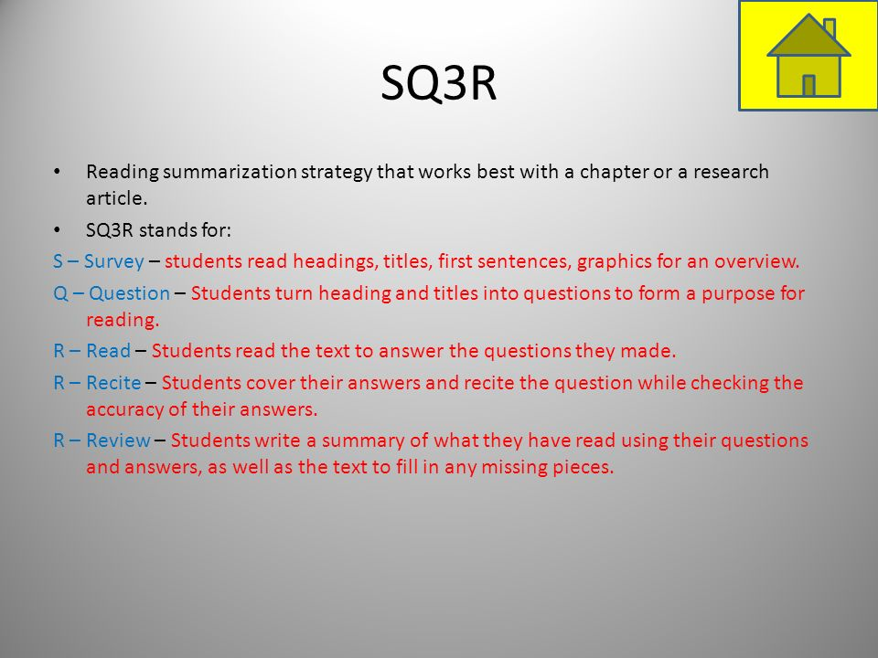 SQ3RReading summarization strategy that works best with a chapter or a research article. SQ3R stands for: